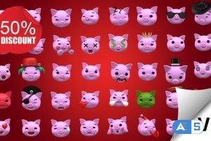 Videohive Emoji v2 – Pig Animation Kit 23234022