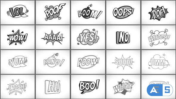 Videohive Comic Titles Black And White || After Effects 33848299