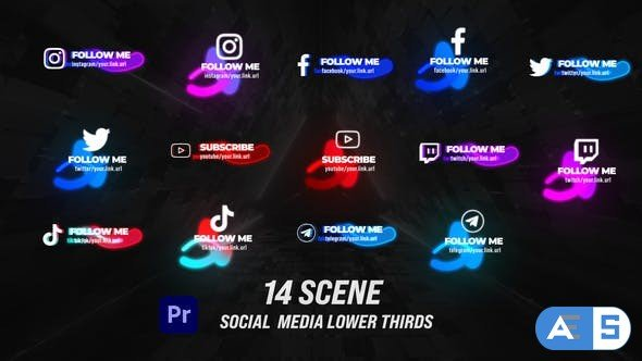 Videohive Glow Social Lower Thirds 33745102