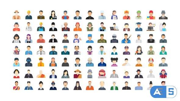 Videohive 100 Human Avatars Icons 33962790