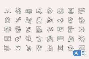 Videohive Digital Marketing Line Icons 33956167