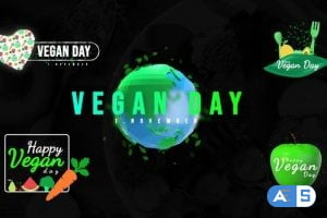 Videohive World Vegan Day Titles 33931394