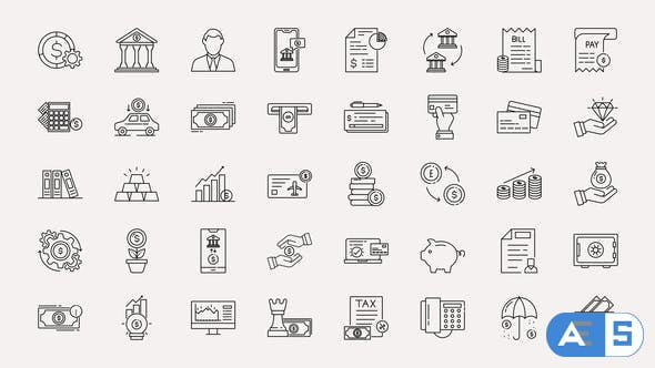 Videohive Banking & Finance Line Icons 34368341