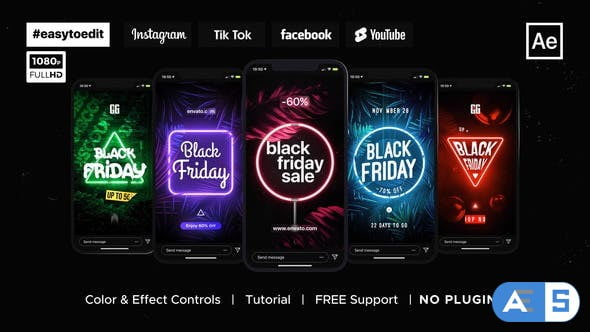 Videohive Black Friday | Neon Stories & Posts 34426932
