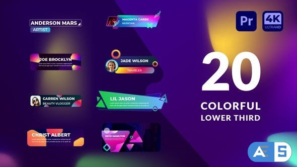 Videohive Colorful Lower Third   Premiere Pro MOGRT 34137659