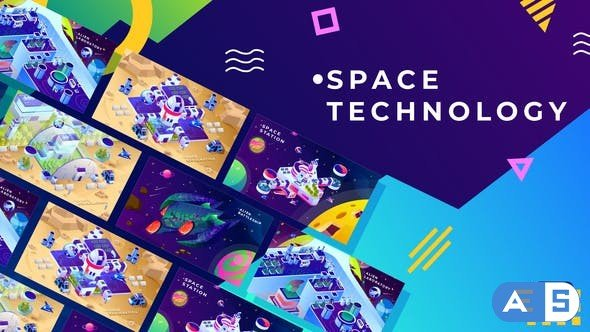 Videohive Space Technology Isometric Animation   After Effects 34038854