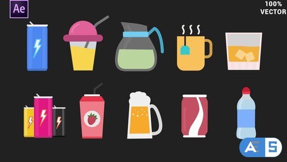 Videohive Drinks Animated Icons 34271871